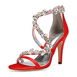 Open Toe Zipper Back Strap High Heel Red Sandals