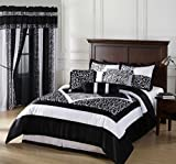 Okapi FULL Size 7-Piece Comforter Set Micro Fur Zebra with Firaffe Print Desing, Black/White Color Bedding Set By Cozy Beddings