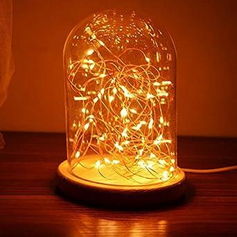 SQDTNSLT USB Wiederaufladbare LED Nachtlicht Holz Glas Deko Leuchten Hell  Leuchtende Lichter Bedeck Warmes