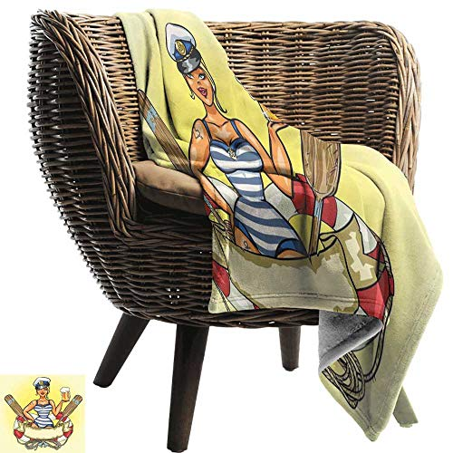BelleAckerman Throw Blankets Fleece Blanket,Girls,Pin-Up Sexy Sailor Girl Lifebuoy with Captain Hat and Costume Glass of Beer Feminine,Multicolor,300GSM, Super Soft and Warm, Durable -