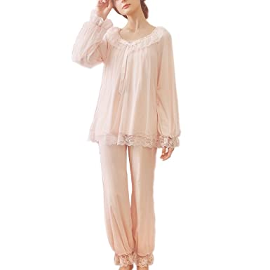 Women s Vintage Victorian Nightgown Pajamas Set Sheer 2 pcs PJ Sleepwear  Nghtwear Loungewear (Pink 8931b871b