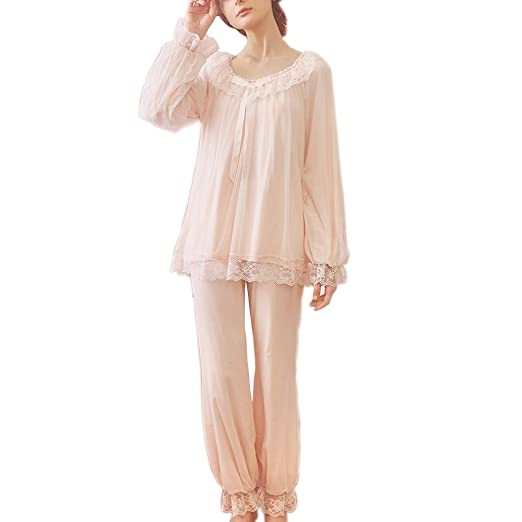 Vintage Inspired Nightgowns, Robes, Pajamas, Baby Dolls SINGINGQUEEN Womens Vintage Victorian Nightgown Pajamas Set Sheer 2 pcs PJ Sleepwear Nghtwear Loungewear $32.99 AT vintagedancer.com