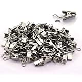 TOTOT 100PCS Curtain Clips With Hook Heavy Duty Window Bath Shower Rod Clips Drapery Clips Metal Curtains Hanging Hardware Accessories Silver