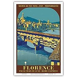 Florence, Italy - Ponte Vecchio - Chemins de fer de Paris-Lyon-Méditerranée (PLM) - Vintage Railroad Travel Poster by Roger Broders c.1921 - Master Art Print - 12in x 18in