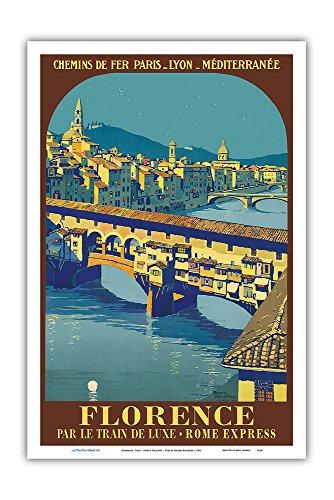 Ponte Florence Vecchio - Pacifica Island Art Florence, Italy - Ponte Vecchio - Chemins de fer de Paris-Lyon-Méditerranée (PLM) - Vintage Railroad Travel Poster by Roger Broders c.1921 - Master Art Print - 12in x 18in