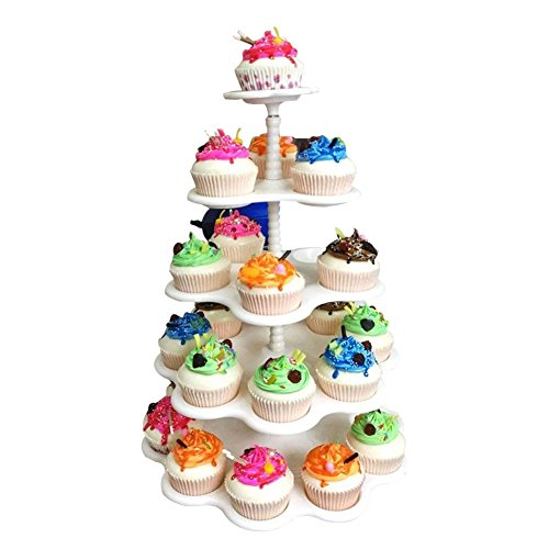Agyvvt 5-Tier Cupcake Stand Holder Display Tree Cake Plate Plastic Stand White for Cakes Desserts Fruits Candy Buffet Stand for Wedding & Home & Birthday Party Serving Platter by Agyvvt