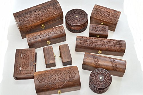 (12 Pcs Handmade Rosewood Hand Carved Wood Chest Jewelry Box)