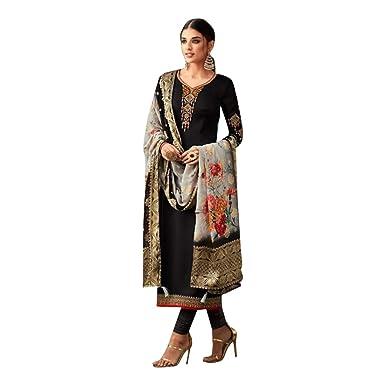 2dcad44833 Amazon.com: Black colored Designer Printed Banarasi Jaquard Dupatta Salwar  suit for Women Indian Formal Party wear 7604: Clothing