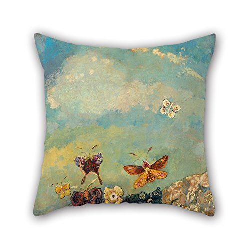Beautifulseason Oil Painting Odilon Redon - Butterflies Pillow Shams 16 X 16 Inches / 40 By 40 Cm Gift Or Decor For Bench,gf,home,dining Room,teens Girls,bedroom - Double Sides