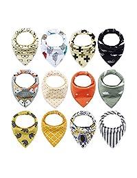 iZiv Baberos del Bebé - Paquete de 12 Diseños Pañuelo con Snaps Ajustables, TPU Impermeable Guarnición para niño 0-2 años (Color-6)