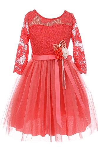 (Little Girls Elegant Rose Floral Lace Illusion Top Satin Belt Flower Girl Dress Coral Blue 4)