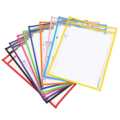 Pet Material (PET Material Dry Erase Pockets Write and Wipe Reusable Clear Tickers Holders Sheet Protectors Classroom Organization and Teaching Supplies [10×13 inch, 10 Pack])