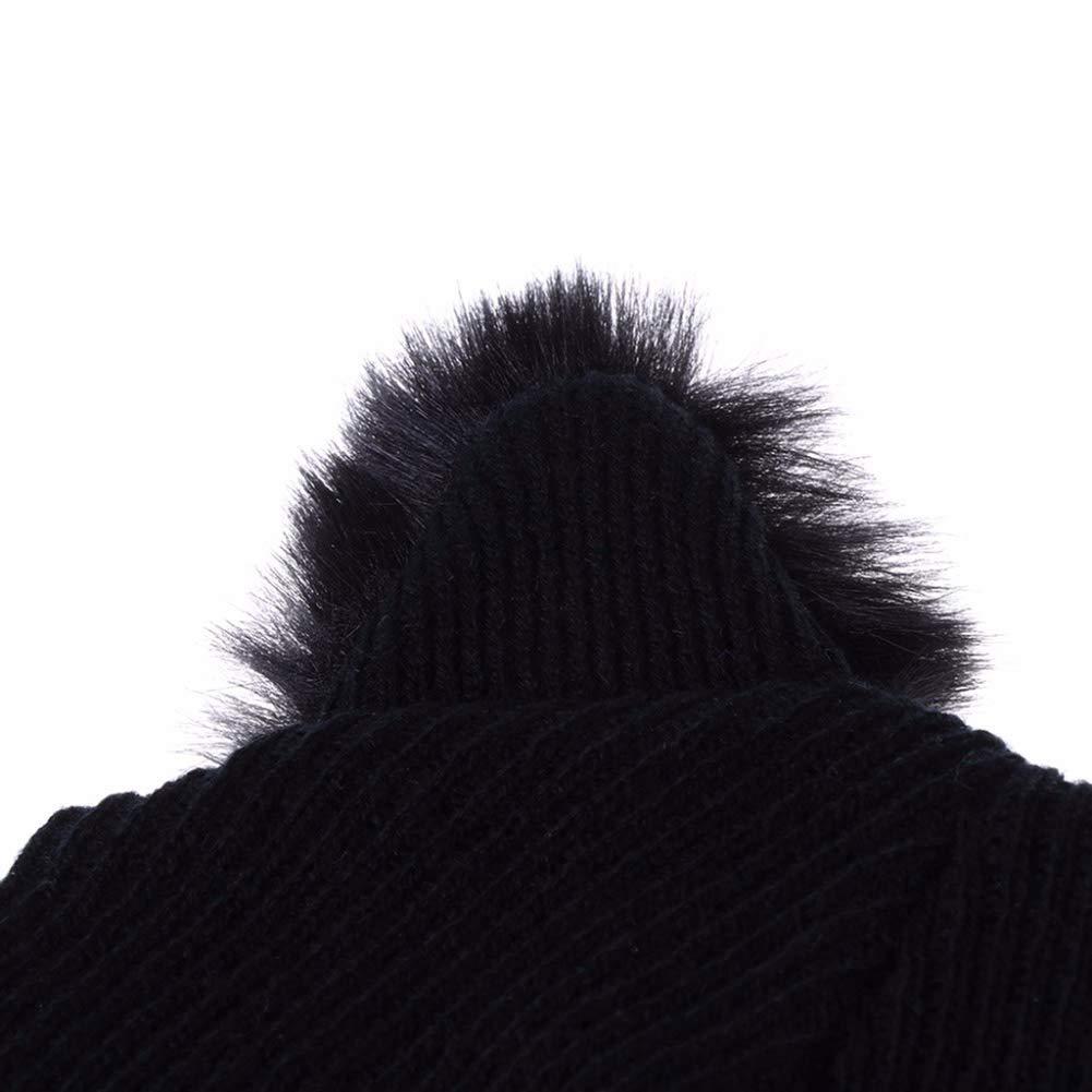 con lanugine e Ricamo CNNIK Cappello da Orecchio di Gatto per Donna Cappello da Sci Caldo Lavorato a Maglia Invernale da Donna Nero per Adulti