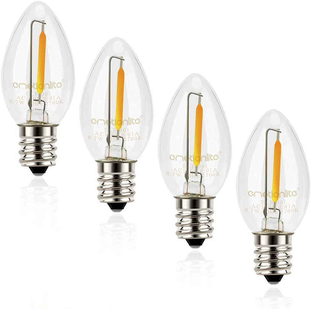 Night Light Bulbs, Emotionlite C7 Candelabra LED Light Bulbs, E12 Chandelier Base, 4W 5W 6W 7W Incandescent Equivalent, Warm White, 2700K, Clear, 4 Pack