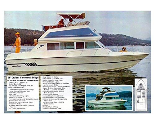 1975 Fiberform 28 Cruiser Command Bridge Power Boat Photo Poster Command Cruiser