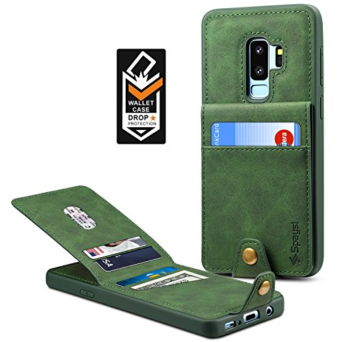 Samsung Galaxy S9 Plus Wallet Case for Galaxy S9 Plus Credit Card Case Spaysi Galaxy S9 Plus Leather Wallet Case Magnetic Closure Kickstand Gift Box for S9Plus (Green) by Spaysi