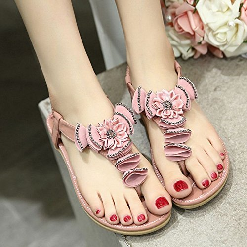 SJJH Fashion Bohemia with Flat Heel and Flower Decorated Casual Sandals for Beautiful Ladies Pink pi6LraNQdG