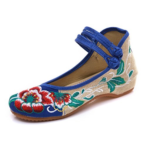 YIBLBOX Women's Chinese Traditional Ankle Strap Mary Jane Flats Shoes Round Toe Rubber Sole Strappy Summer Flower Embroidery Dress Shoes for Cheongsam Blue M0lkuT