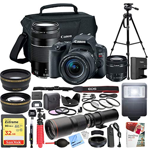 (Canon EOS Rebel SL2 DSLR Camera with EF-S 18-55mm f/3.5-5.6 + EF 75-300mm f/4-5.6 III Dual Lens Kit + 500mm Preset f/8 Telephoto Lens + 0.43x Wide Angle, 2.2X Pro Bundle)