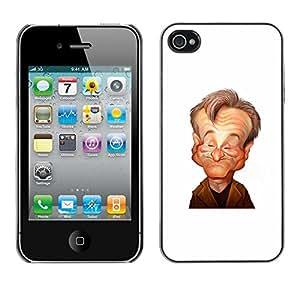 FlareStar Colour Printing Robin Actor Comedian Stand Up Caricature cáscara Funda Case Caso de plástico para Apple iPhone 4 / iPhone 4S / 4S