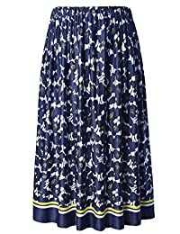 Chicwe Women's Plus Size Flared Floral Calf Length Skirt with Elastic Waist