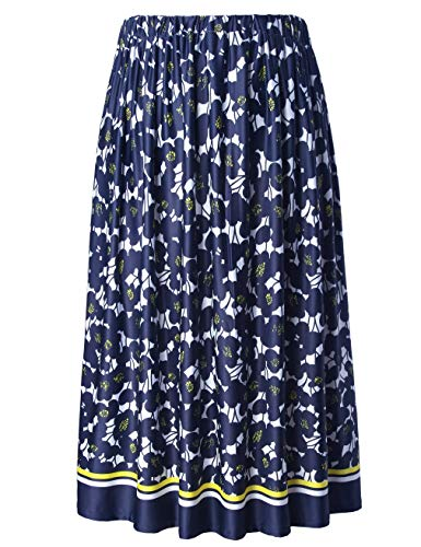 (Chicwe Women's Plus Size Flared Floral Calf Length Skirt with Elastic Waist Navy 3X)