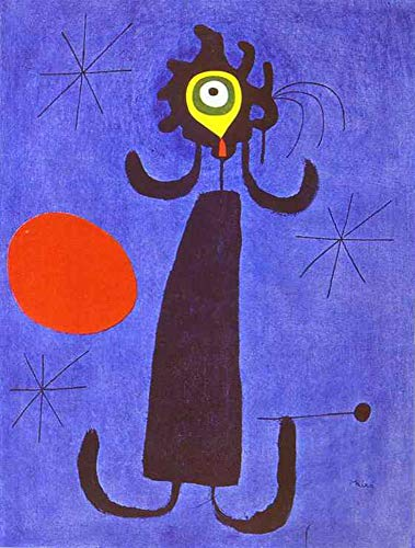 - Handpainted Reproduction Joan Miro 70X90 cm (Approx. 28X36 inch) - Woman in Front of The Sun Abstract Paintings Canvas Wall Art Poster Rolled