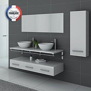 Distribain Meuble Double Vasque Blanc VIRTUOSE Duo  Amazon.fr ... bcd2a1865cf9