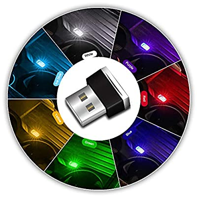 USB LED Car Interior Ambient Atmosphere Lights,7pcs Plug-in 5V Universal Mini Led USB Lights for Car Interior Trunk Ambient Atmosphere, Laptops, USB Sockets, Night Lights. (7 Colors): Automotive