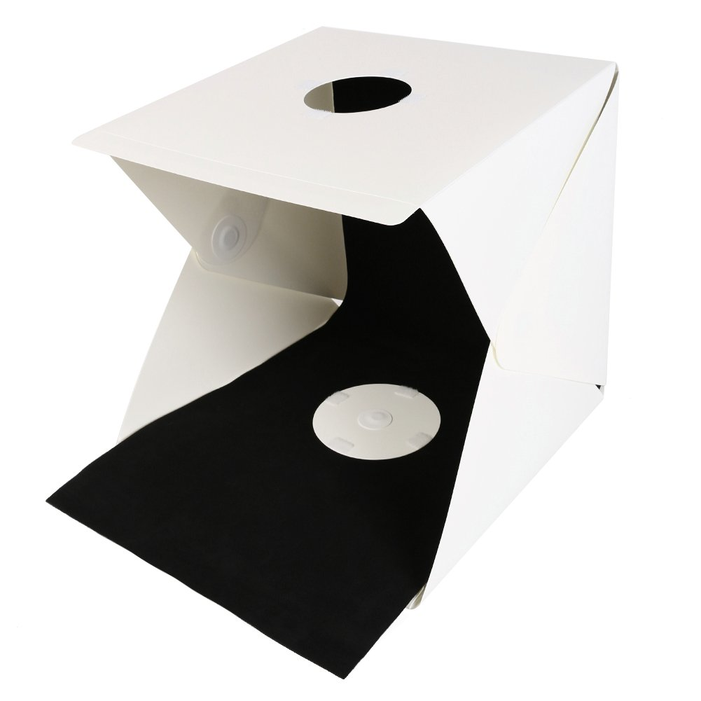 TIANYI Mini Photo Studio LED Light Box Photography LED Lighting Tent Kit Small Portable Shooting Box With White And Black Background Cloth Focusing Your Photography (White 15.8× 15.8× 15.8inches/40*40*40cm) TYMX