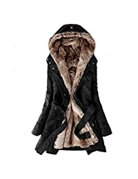Newbestyle Women's Winter Slim Thicken Lamb Wool Hooded Parka Jackets with Belt