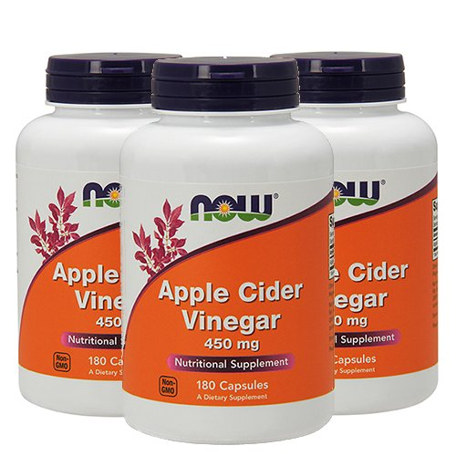 Now Foods – Apple Cider Vinegar 450 mg 180 Capsules Pack of 3 , 540 Count total