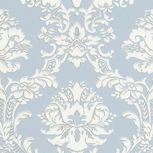 Classic Stripe Wallpaper - Large Scale Damask in Blue and White - SD25646
