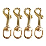 MagiDeal 4 Pieces Durable Brass Single Ended Scuba Diving Dive Swivel Eye Bolt Snap Hook Spring Loaded Dog Clip Buckle - Corrosion Resistant & High Strength