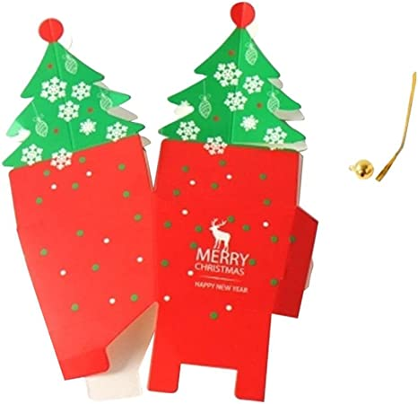Cartón rojo árbol de Navidad caja de embalaje del regalo del caramelo: Amazon.es: Hogar