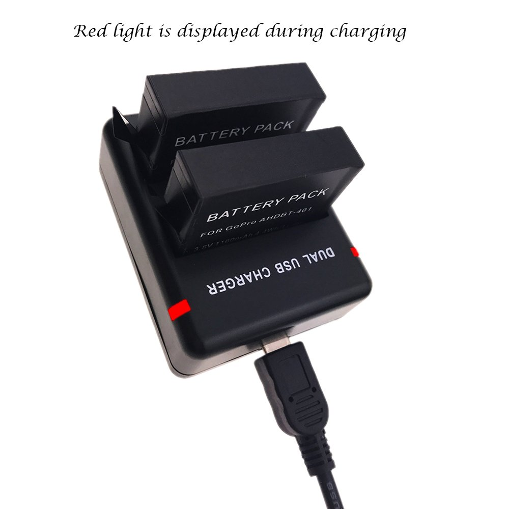 and Daul Charger for Gopro HERO4 Black Gopro HERO4 Silver and Gopro AHDBT-401 2 Pack Suptig Battery