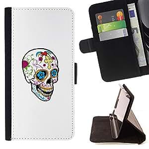Momo Phone Case / Flip Funda de Cuero Case Cover - Cráneo feliz de la primavera Muerte Blanca Limpia - MOTOROLA MOTO X PLAY XT1562
