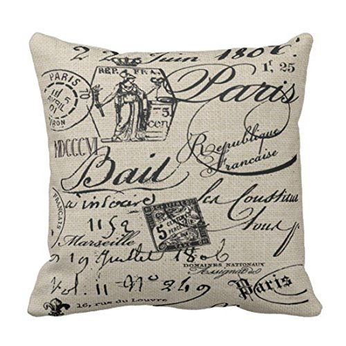 Emvency Throw Pillow Cover Black Housewares French Script Paris Decorative Linen Pillow Case Home Decor Square 20 x 20 Inch Pillowcase