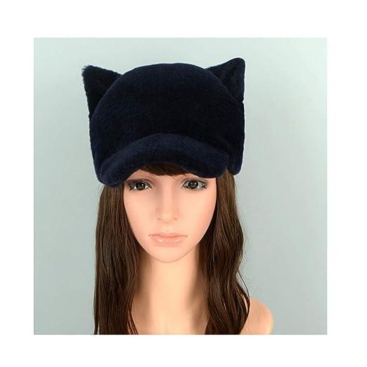 Cat Ears Sheep Fur Hats Wool Ladies hat Cute Real Fur Winter Woman caps  Black OneSize 8674d98bda6