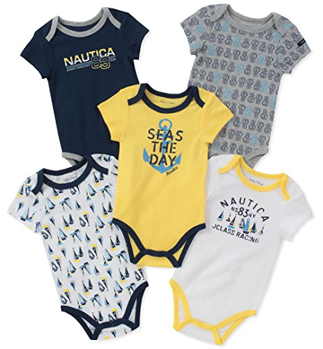 Nautica Baby Boys 5 Packs Bodysuits, Yellow/Navy/Gray, 3-6 Months (Nautica Newborn Boy Clothes)