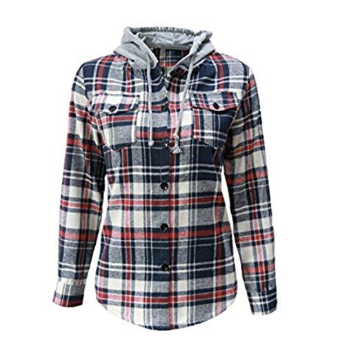 Women's Soft Classic Mid-Long Plaid Checker Cotton Hoodie Button-up Flannel Slim Shirts Top (Lable Size XXL=US Size L, Gray) (Plus Size Flannel Hoodie)