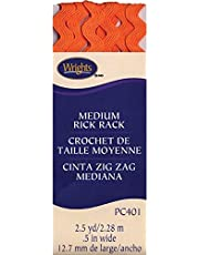 Wrights 1/2 by 2-1/2-Yard Rickrack Quilting Supplies, Medium, Orange Peel