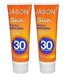 Jason Sun Mineral Natural Zinc Oxide Sunscreen SPF 30 With Shea Butter and Jojoba Oil, 4 Oz. (Pack of 2)