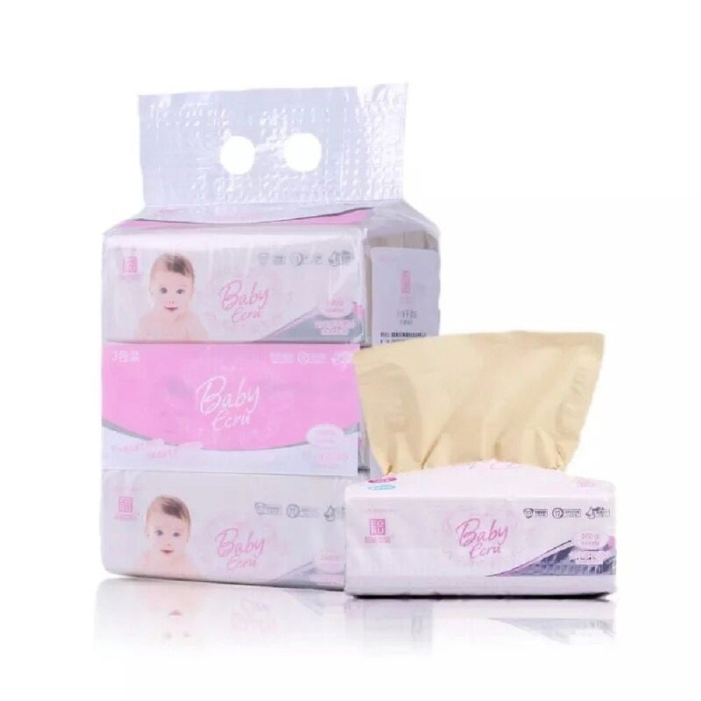 Eco-friendly Natural Bamboo fiber Not Bleached Facial Tissues (Pink Baby, 12pack)