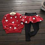 Rurah Kids Baby Girl Cute Love Heart Long Sleeve Shirt+Pants Skirt Sports Suit ,red,100cm