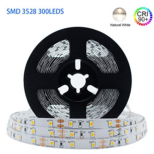 LightingWill LED Strip Lights CRI90 SMD3528 16.4Ft(5M) 300LEDs Nature White 4000K-4500K 60LEDs/M DC12V 24W 4.8W/M 8mm White PCB Flexible Ribbon Strip with Adhesive Tape Non-Waterproof H3528NW300N