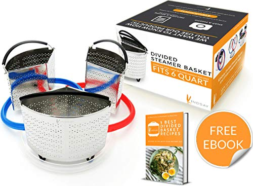 Divider Basket Set Compatible with Instant Pot 6 Qt | Pressure Cooker, Steamer Inner Insert Accessories, E Book | Silicone Seal Replacement, Strainer | Ideal for Cooking Egg, Potato, Vegetables
