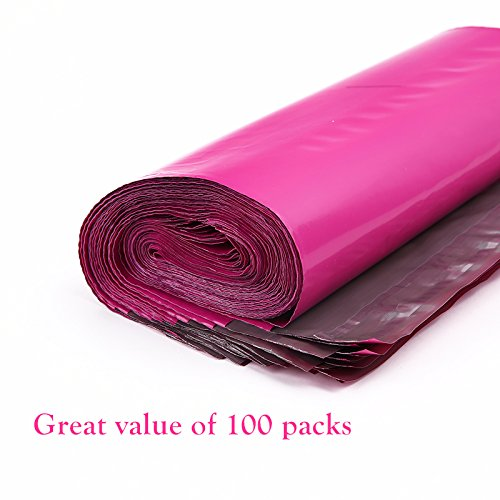 Ohuhu 100-Pack Hot Pink Poly Mailers Shipping Envelope Bags with Self Adhesive Strip, Water Resistant, 10