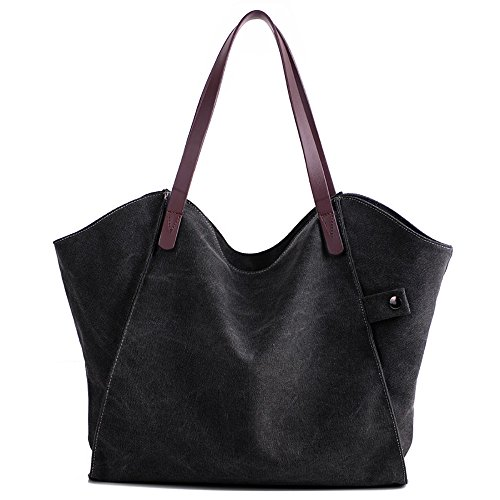Mfeo Women Canvas Shoulder Bag Weekend Shopping Big Bag Tote Handbag Work Bag (3 Black)