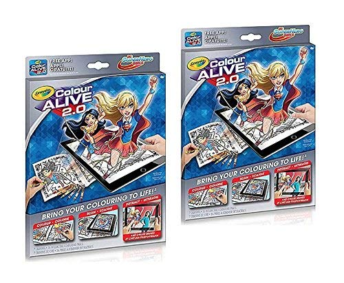 Color Alive Vibrant Coloring Book 16-Interactive Pages Crayons Kids Digital Mobile Tablet Scan Interact Animated Action 2-Pack Bundle Set of TWO - DC SUPERHERO GIRLS